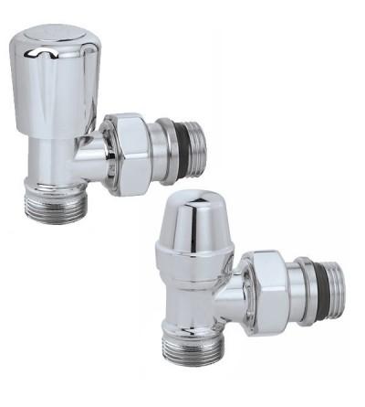 Caleffi 338040 Pair of angled convertible radiator valve and lockshield valve. High chrome finish