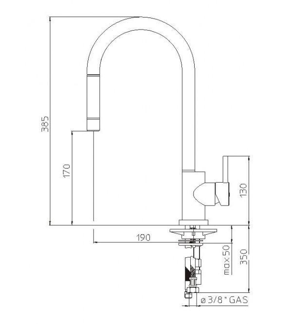 einhand sp ltischmischer mit herausziehbarer brause nobili oz137 1t7cr rubinetteria shop. Black Bedroom Furniture Sets. Home Design Ideas