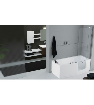 rectangular bath door entry facilitated standard with bath mixer novellini iris