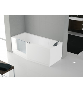 rectangular bath Hydromassage plus deck mounted bath mixer door entry facilitated novellini iris