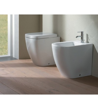 Floor mounted pan with wall drain - Globo STONE 45.36 cod SS002