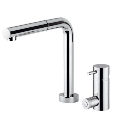 sink bendable mixer with remote control on deck 3-way Quadrodesign QD302