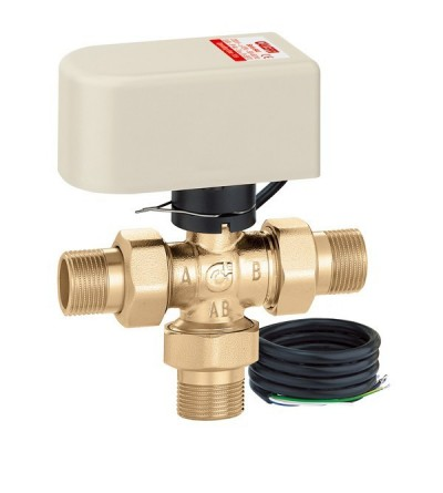 Motorised three-way ball diverter valve caleffi 6443