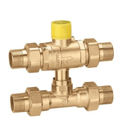 Three-way ball zone valve with by-pass tee caleffi 6489