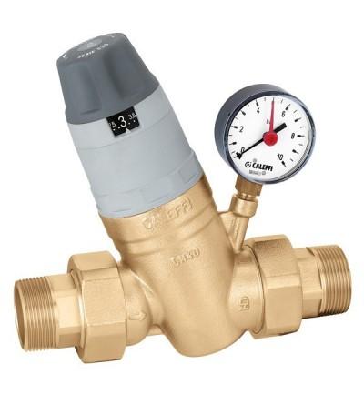 """Riduttore di pressione con cartuccia monoblocco estraibile. Con manometro 1 1/4""""÷2"""" caleffi 5350"""