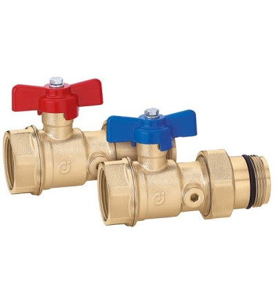 Pair of ball shut-off valves. With temperature gauge connection caleffi 391