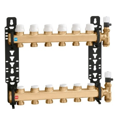 Distribution manifold group with shut-off and lockshield valves caleffi 662