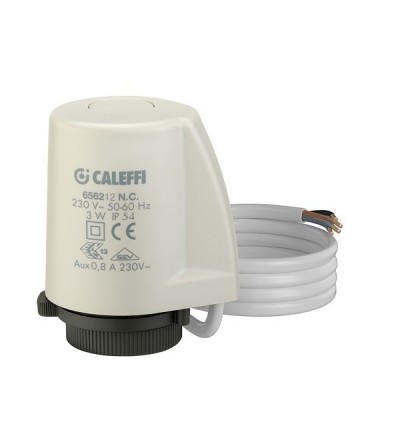 Thermo-electric actuator with quick-coupling installation auxiliary microswitch caleffi 6562