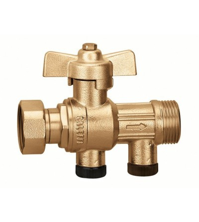 Ball valve with built-in certified check valve caleffi 304140