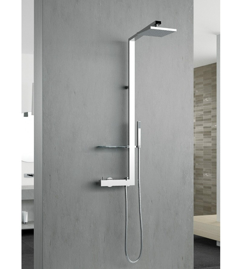 Exposed thermostatic shower mixer with shower column novellini flag FLAGT-K