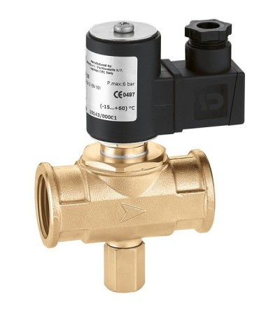 Caleffi 8541 Solenoid valve for gas, normally closed, with manual reset