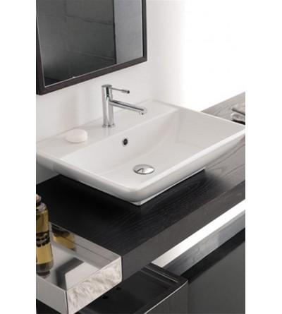 Lavabo da appoggio o sospeso Scarabeo Thin-Line Kylis R 8046/R