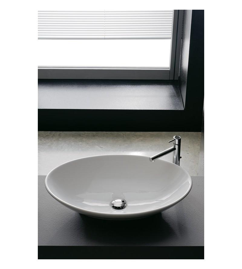 Lavabo in ceramica da appoggio scarabeo Thin-line neck 8045