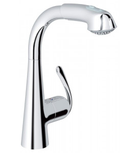 "Grohe Zedra single lever kitchen mixer with pull-out hose, 1/2"" chrome 32553000"