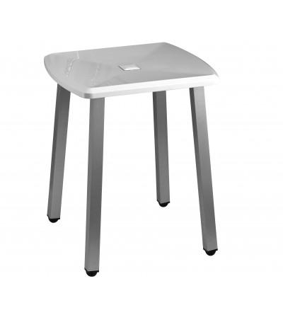 sgabello con piedi in alluminio e seduta in acciaio inox e abs mm 415x395