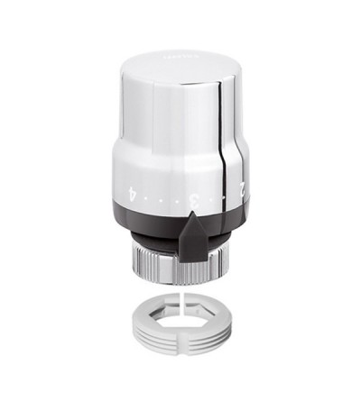 Thermostatic control head for designer heating system valves. Built-in sensor. High chrome finish Caleffi 200013