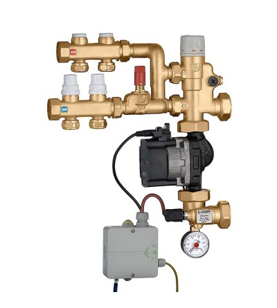 Pre-assembled set point regulating unit. With medium distribution kit Caleffi 182621