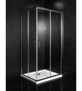 Mamparas de ducha rectangular de dos puertas correderas + dos fijos Piralla Matilde