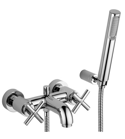 Exposed bath tap with shower set Paffoni Quattro QTV023CR