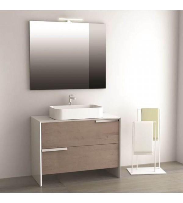 Specchio Bagno Led 100.Mobile Da Bagno A Terra Cm 100 Completo Di Specchio E Lampada A