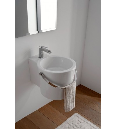 Lay-on or wall-hung washbasin Scarabeo Bucket 30R 8802