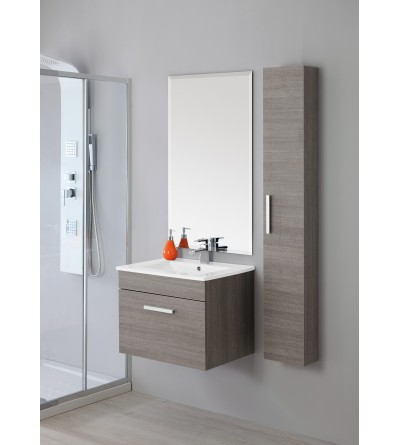 Suspended bathroom cabinet dark oak Feridras Show 60