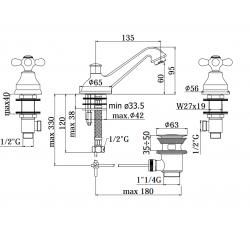 3 hole Washbasin mixer Paffoni IRIS IR/VL058