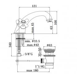 monobloc washbasin mixer Paffoni IRIS IR / VL 065