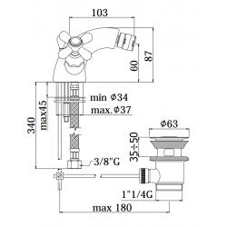 Gruppo monoblocco bidet Paffoni IRIS IRV131/135 VLV131/135