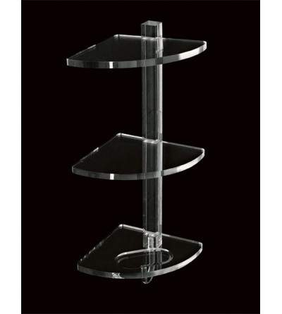 Three-storey corner shelf in plexiglass TL.Bath Luce L006