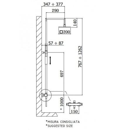 colonna doccia con miscelatore termostatico syncro top paffoni ZCOL655CR