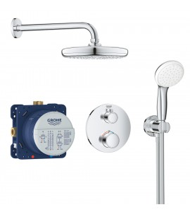 Grohe Grohtherm concealed shower system, round with Tempesta 210 overhead shower 34727000