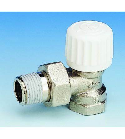 Vanne de radiateur d'angle thermostatisable avec pré-régulation Pettinaroli 760P