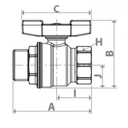 Valvola con attacchi F-M, passaggio integrale giacomini R854