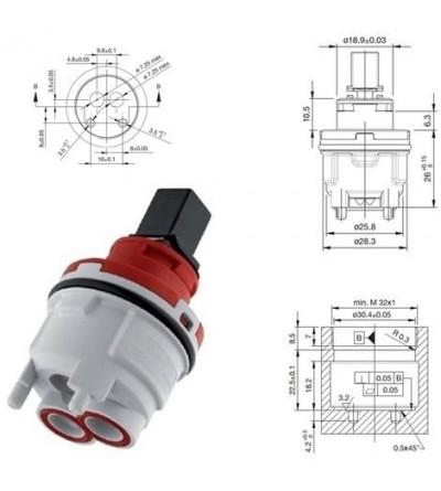 Cartuccia di ricambio per miscelatore diametro 30 Hydroplast FA30