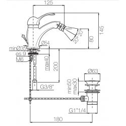 miscelatore bidet con scarico automatico DUNA porta&bini 7020