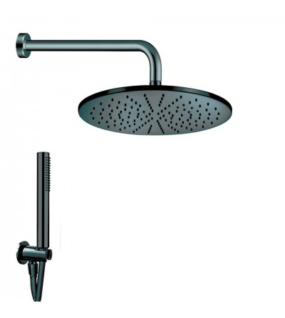 Matt black shower kit with shower head Damast Class 15405-15407
