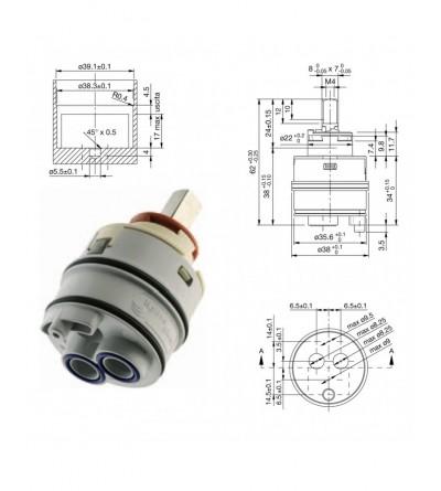 Cartuccia Di Ricambio Per Miscelatore Diametro 38 Hydroplast  AX38