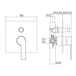 Miscelatore incasso con deviatore Gattoni Color 8034