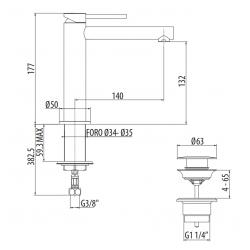 Sleeve basin mixer Gattoni Circle One 9044