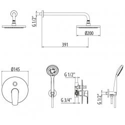 Kit doccia completo Gattoni KTH315/PDCO