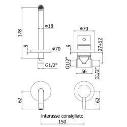 Built-in mixer washbasin Paffoni LIGHT LIG006..70