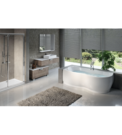 Corner bathtub with whirlpool + disinfection Novellini Venus
