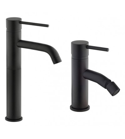Complete set tall washbasin and bidet matt black Piralla Iseo KITISEO1