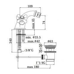 Monobloc bidet MIXER Paffoni IRIS IR / VL 125