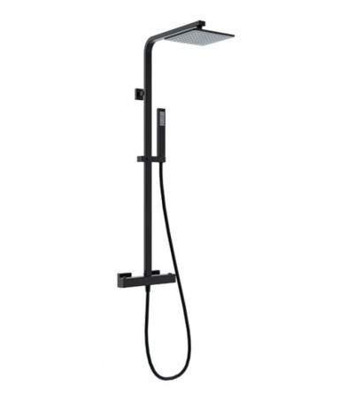 Square black thermostatic shower column Ponsi BNCOLKQTRM0011