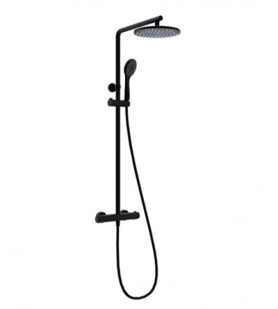 Black matt thermostatic round shower column Ponsi BNCOLKRTRM0001