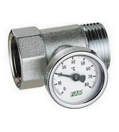 Chrome-plated temperature gauge fitting complete with temperature gauge FAR 3432