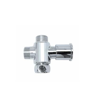 "Three-way brass diverter valve 1/2""x 3/4"" Bossini E61500"