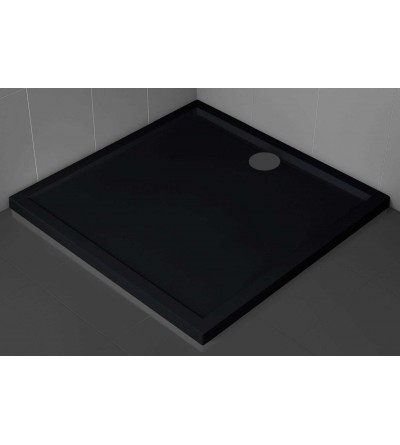 Square shower tray 4.5 cm black color Novellini Olympic